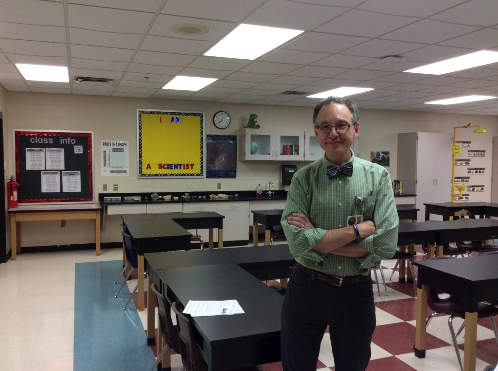 Rolland Yoakum in his classroom