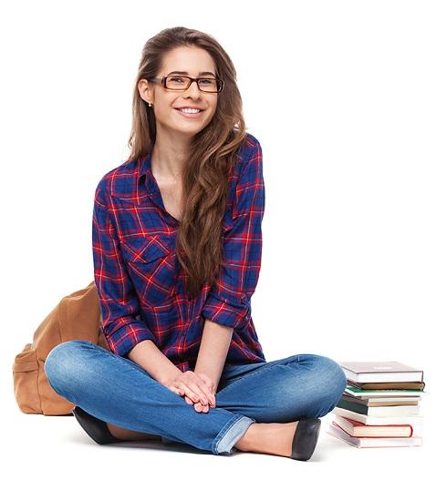 Future Teacher Sitting Down with Her Bookbag